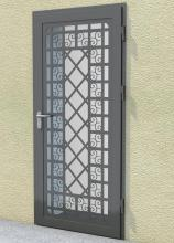 Door with decorative grate