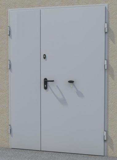 Warehouse door with a heavy anti-burglary bar